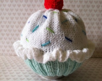 Mint Green & Vanilla or Chocolate Cupcake Baby Knit Hat
