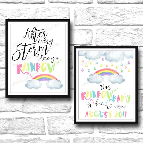 Pastel Rainbow Watercolor Rainbow Pregnancy Announcement Signs
