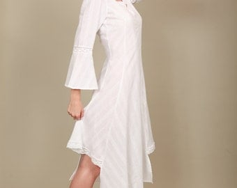 Very feminine asymmetric cotton dress