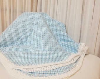 Blue Gingham Check Print Receiving Blanket