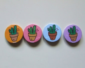 Cactus Badge or Magnetic - 38mm Small Pin - Illustration - Succulent - Pinback Button