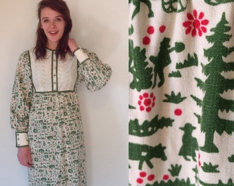 Vintage 70s LANZ Boho Maxi Dress// Long Sleeve Pastoral/Holiday Print Dress