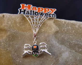 Dangling Smiling Spider Happy Halloween Articulated Vintage Danecraft Pin