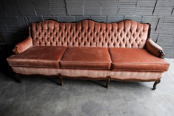 Vintage Tufted Velvet Sofa Couch Pink Mauve