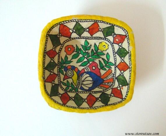 Home Decor Indian Handicraft Paper Mache Bowl By Storeutsav