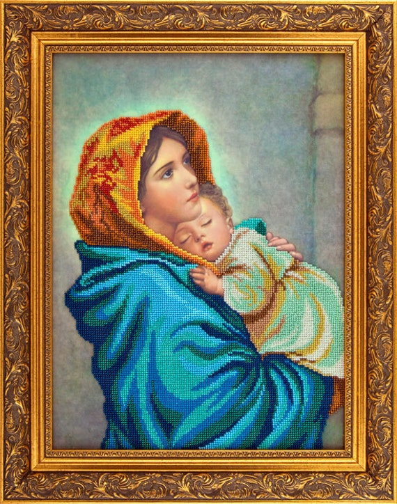 Madonna of the Streets religious picture, DIY bead embroidery set, craft kit, beading on needlepoint