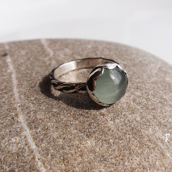 Laggan - natural aquamarine sterling silver ring