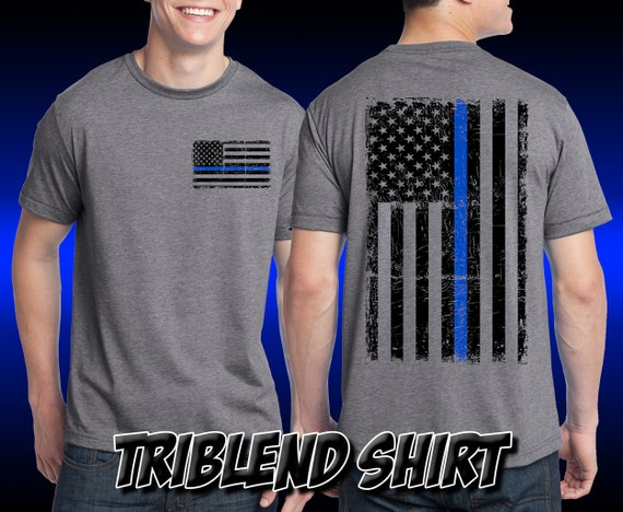Thin Blue Line Shirt - Remember the Fallen Tri Blend Shirt Police Department Sheriff