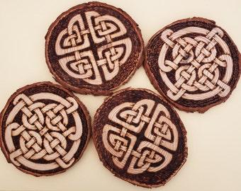 Celtic Knot Pyrography Coasters, set of 4