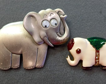 Two Elephant Brooch Pins- One Signed JJ.  Free shipping
