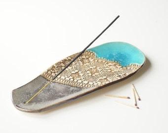 SALE 25%, Incense Holder, Incense Burner, Turquoise Incense Tray, Ceramics and Pottery, Handmade Incense Burner