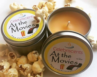 Strong buttery popcorn scented soy candle. This popcorn scent is EXACTLY the one from the movie theaters.  It's warm, buttery and delicious!