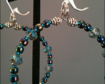 Iridescent Crystal Hoop Earrings / iridescent hoops / blue and purple hoop earrings / statement hoop earrings / iris hoop earrings