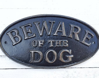 Beware of Dog Sign, Pet Gifts, Metal Sign, I Love My Dog, Red Home Decor, Industrial Home Decor ,Charcoal Black , Man Cave ,Distressed Metal