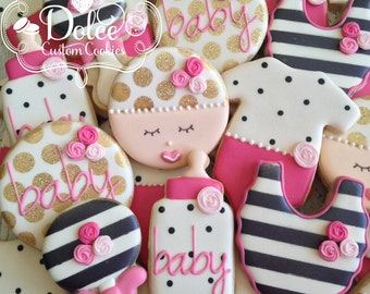 Baby Shower Baby Girl Black and White Gold Floral Cookies