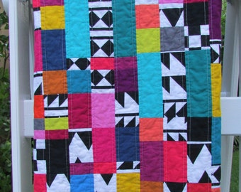 Bright Colors Quilt | Modern Quilt Throw | Geometric Shapes Quilt | Handmade Quilt | Lap Quilt | Colorful Quilt