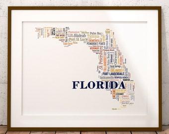 Florida Typography Map Art Print, Florida Map Art, Florida City & Town Map Poster, Florida Poster Print, Florida Word Cloud