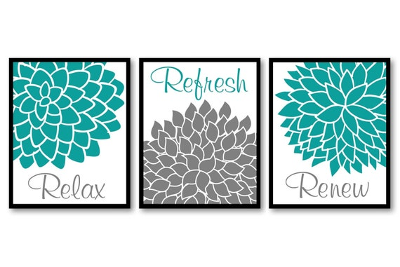 Home decor wall art prints teal blue turquoise grey flower for Blue bathroom wall decor