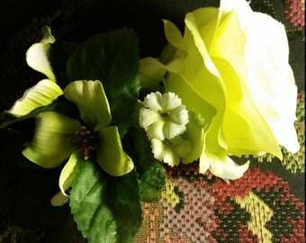 Bright Green Rose Arrangement Hair Clip