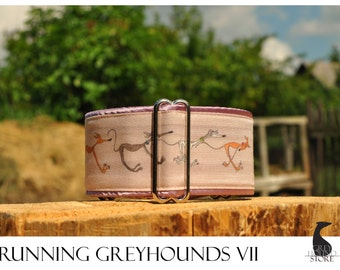 Running Greyhounds VII (Martingale Dog Collar - Greyhound collar | Galgo collar)