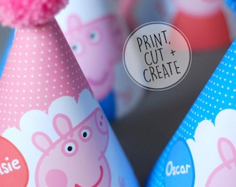 PRINTABLE Digital Peppa Pig George Pig Personalised Childrens Birthday Party Hat Pink Blue