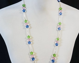 Hand made Soft pastel crystal necklace  with earrings