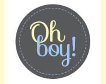 Oh Boy! Baby Shower Tags, Stickers or Cupcake Toppers