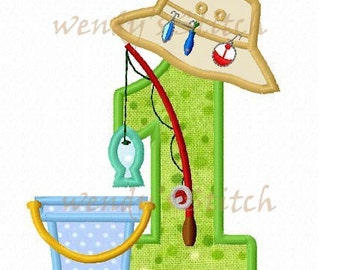 Fishing with lure applique number 1 machine embroidery design instant download