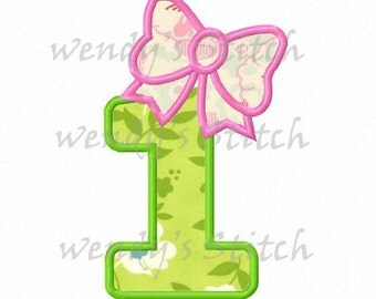 set of 9 bow applique birthday numbers machine embroidery design instant download