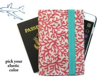 Family Passport Holder Coral Travel Wallet for 4 / iPhone 5 Cell Phone Case/Nautical Passport Case Passport Cover/ Travel Gift