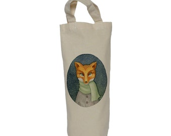 Wine tote, bottle bag, fox in a scarf cotton bag, gift bag