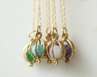 Birthstone Necklace, Brass Cage Birthstone Necklace with 18KT gold filled chain.