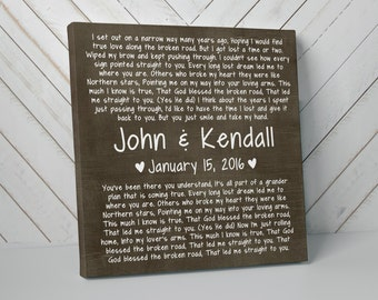 Bless This Broken Road, Rascal Flatts, Rustic, Canvas Art, Wedding Gift, Anniversary, Personalized