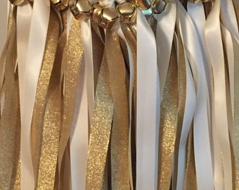 50 Wedding Wands/Wedding Ribbon Wands/Wedding Wand/Wedding Streamers/Ivory and Gold Metallic