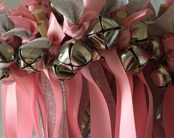 50 Wedding Wands/Wedding Ribbon Wands/Wedding Wand/Wedding Streamers/Silver, Pink and Silver Metallic