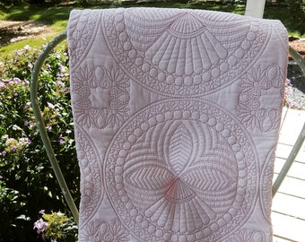 Baby quilted blanket playmat 100% organic cotton pink