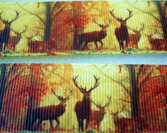 1'' -  22 mm Autumn Colors Deer Ribbon