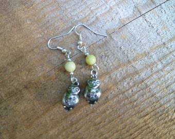 olive jade owl earrings
