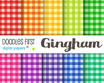 Gingham Digital Paper Pack Includes 10 for Scrapbooking Paper Crafts