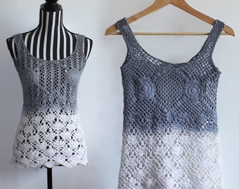 Vintage crochet top // ombre // scallop edge // size XS/S // free shipping in Australia