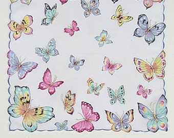 Vintage Franshaw Handkerchief Covered with Beautiful Butterflies (Inventory #M2243)