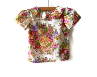 Girls blouse - girls floral blouse -  girls blouse with peter pan collar - girls blouse with short sleeves - toddler blouse - summer top