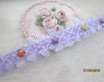 1 Yard- Purple Organza Lace /NT99- Organza Fancy Lace Trim/Shabby Chic Lace /Beaded Lace