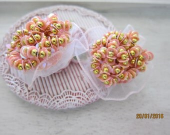 Set of 2pieces-Peachy Sequin Beaded Flower Embellishment/NEB79-Beaded Bridal Head Piece/Hair Accessories/