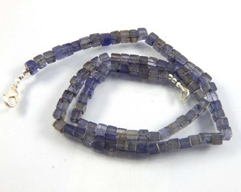 "Natural Gemstone Iolite 4-5MM Smooth 3D Cube Shape Beads 17.5"" Full Strand Box Shape Beads Super Fine Quality"