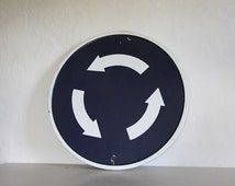 HUGE Enamel French Sign Road Sign Transport Sign round Roundabout Sign Man Cave