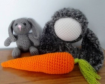 Crochet Bunny Rabbit & Newborn Bonnet Shorts Set, Photo Prop Teddy Toy Amigurumi Vintage Style, Perfect Baby Shower Gift, Easter Bunny