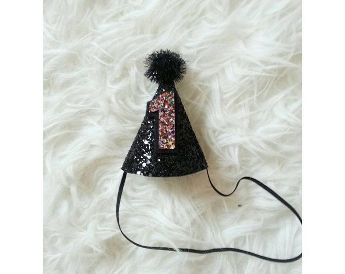 Mini Glittery Black and Gold First Birthday Party Hat |  1st Birthday | Boy Birthday Hat | Ready to Ship