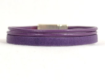 Crohn's Disease Awareness Bracelet - Purple Combination 2mm and 5mm Leather Bracelet with Antique Silver Smooth Magnetic (5-2-2A)
