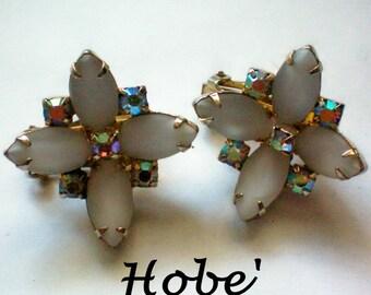 Hobe Aurora Borealis & Milk Glass Clip Earrings - 4375